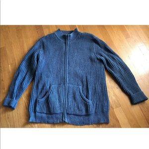 L. L. Bean Blue Zip Up Cardigan Sweater  L Tall